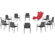 Free Special Red Office Armchair Between Ordinary Royalty Free Stock Photography - 16537317