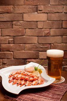 Shrimps On The Dish Stock Photos