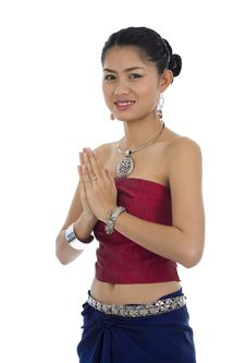 Free Asian Woman With Welcome Gesture Stock Photography - 16538432