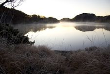 Cold Morning Lake Royalty Free Stock Photos