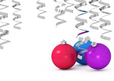 Christmas Balls And Tinsel On A White Background Stock Photography