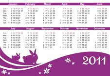 2011 Calendar (starts Sunday) Stock Photo