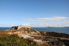 Castle At Portelet Harbour, Guernsey Royalty Free Stock Photos