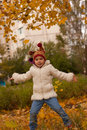 Free Child Jumping In Autumn Royalty Free Stock Photography - 16542967