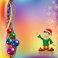 Free Christmas Greeting With Dwarf And Balls Stock Photography - 16545422