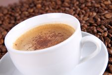Free Cup Of Coffee And Coffee Beans Stock Image - 16540121