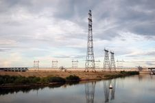 Free Electrical Towers On River Bank Stock Photo - 16540410