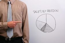 Man Pointing At A Pie Chart Royalty Free Stock Photography