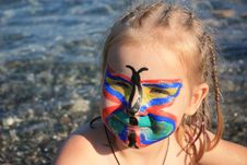 Free Child S Face Painted As Butterfly Royalty Free Stock Images - 16542739