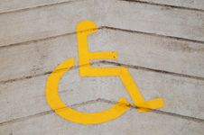 Free Yellow Wheel Chair Sign Stock Photography - 16543252