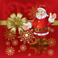 Christmas Gift Santa Claus On A  Red Royalty Free Stock Photo
