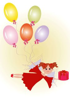 Free Fairy With Gift And Balloons. Royalty Free Stock Photo - 16543895