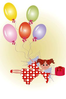 Fairy With Gift And Balloons. Stock Photo