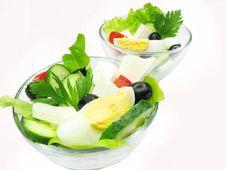 Free Two Bowls Ofgreek Salad Stock Photography - 16544022