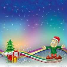 Free Christmas Greeting Dwarf With Gifts Stock Images - 16544324