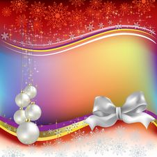 Free Christmas Greeting With Pearl Balls Stock Photography - 16545552