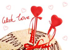 Free Two Red Hearts In A Target Of Cake Stock Photography - 16545632