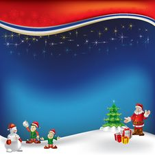 Free Christmas Greeting With Santa Claus On A Blue Stock Images - 16545684