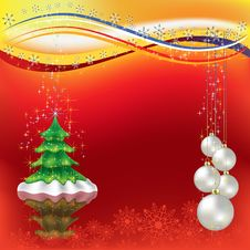 Free Christmas Greeting With Tree And Pearl Balls Stock Images - 16545914