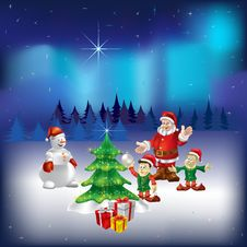 Free Santa Claus Snowman And Dwarfs In The Woods Stock Photo - 16546180