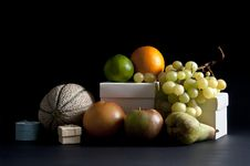 Free Mixed Fruit On A Black Background Royalty Free Stock Image - 16546636