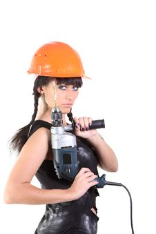 Free Girl Hold A Drill Stock Photos - 16546803