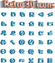 Free Universal Icon Set - Retro 3d Icons Stock Images - 16547744