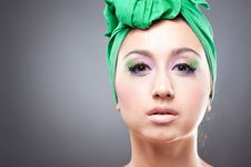Free Beautiful Woman  In Green Hat Royalty Free Stock Photos - 16548268