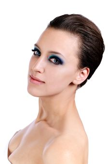 Beautiful Young Woman With Blue Make-up. Stock Image