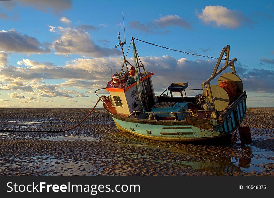 Boat on mudbank