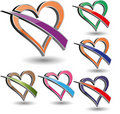 Free Colorful Vector Heart Icons Stock Image - 16557651