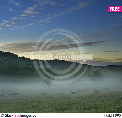 Free Rural Landscape With Foggy Scene Stock Photos - 16551993