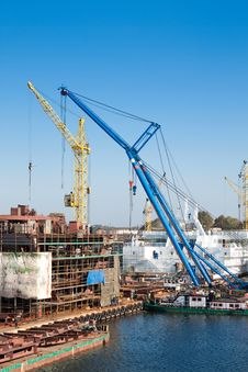 Big Cranes In Shipyard Stock Images