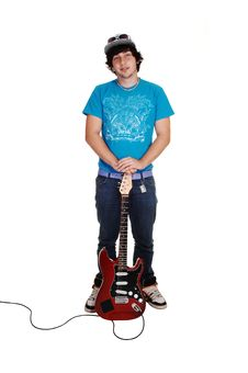 Free Boy Standing With Guitar. Stock Photography - 16550942