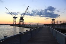 Free Red Hook Boardwalk And Cranes Royalty Free Stock Photography - 16552467