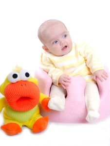 Free Cute Baby With Toy Isolated Royalty Free Stock Photos - 16552908