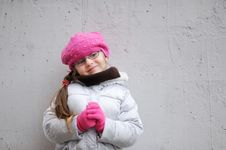 Adorable Small Girl In Bright Pink Hat Royalty Free Stock Image