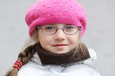 Free Adorable Small Girl In Bright Pink Hat Royalty Free Stock Images - 16553439