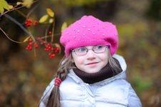 Adorable Small Girl In Bright Pink Hat Royalty Free Stock Photo