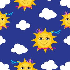 Free Sun Seamless Pattern. Royalty Free Stock Photography - 16553467