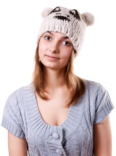 Portrait Of The Young Girl In Hat Royalty Free Stock Photo