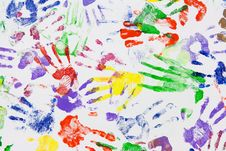 Free Varicoloured Imprint Of The Hands Stock Photos - 16553853