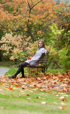 Free Girl On Small Bench Royalty Free Stock Photo - 16553955