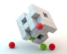 Free White Cubes And Spheres Stock Photography - 16553972