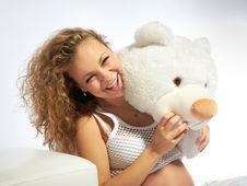 Free Pregnant Woman Whith Teddy Bear Royalty Free Stock Photos - 16554298
