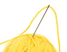 Close Up Of Wool Knitting On White Stock Photos