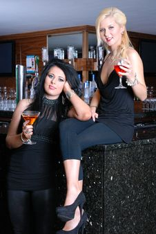 Free Two Beautiful Girls In Bar Stock Photo - 16554680