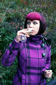 Portrait Of а Girl With A Glass Of Champagne Stock Images