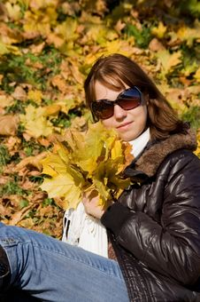 Free Cute Girl With Autumn Leaves Stock Photos - 16554943
