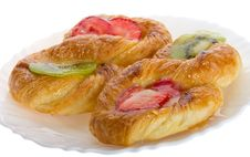 Puff Pastry With Kiwi And Strawberry Royalty Free Stock Photo